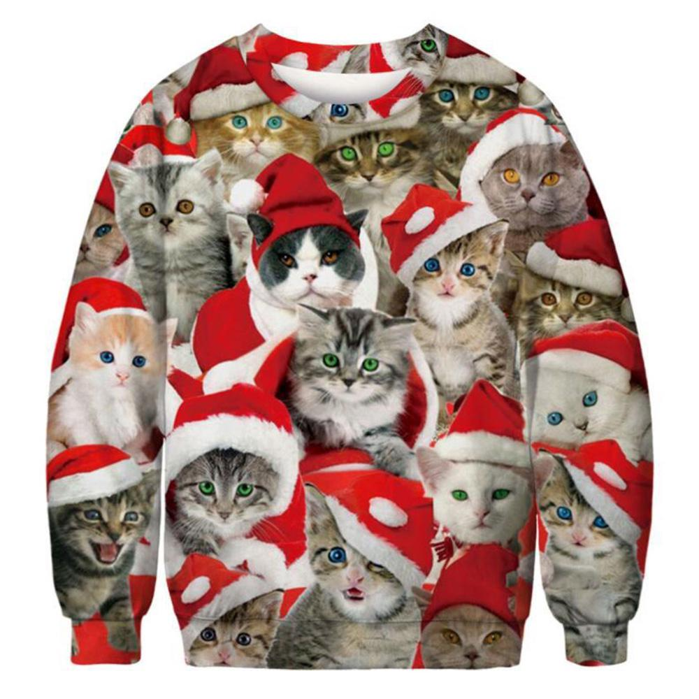 Ugly Christmas Sweater Cat.Women Ugly Christmas Sweater Festival Jacket Flora Cat Pattern Coat