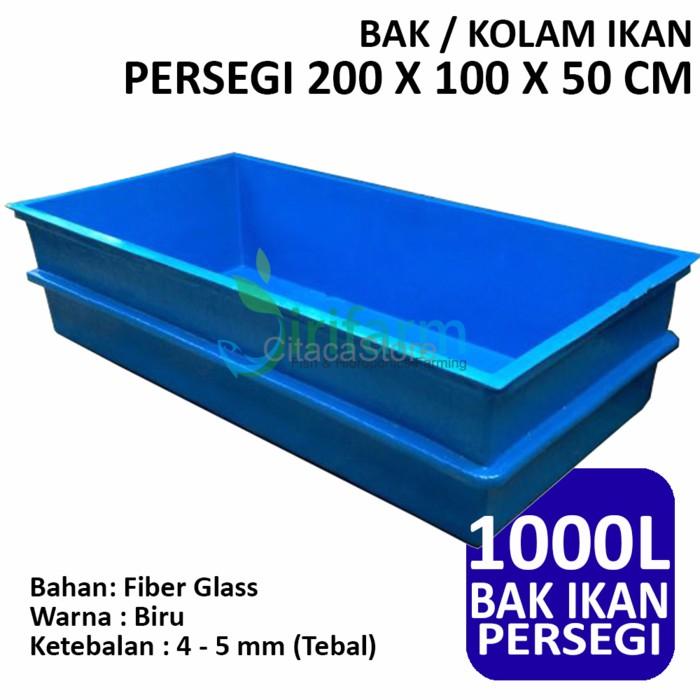 Terbaru Bak Kolam Ikan Persegi 200 X 100 X 50 Cm Fiber Tebal