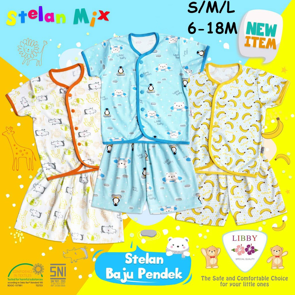 Libby 3 Pcs Baju Lengan Pendek Bayi Baby Motif 0 3m Shopee Indonesia Jumper Kodok 2 Karakter Zebra