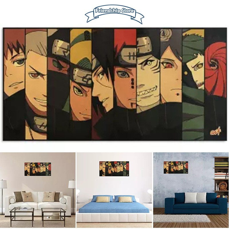 Fs Classic Vintage Anime Cartoon Naruto Figure Poster Room Decoration Stickers Home Decor Kraft Paper Wall Stickers Shopee Indonesia