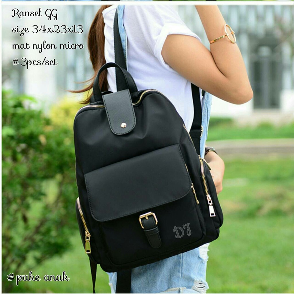 Tas Ransel Backpack Sekolah Anak Casual Keren Louise 3in1 Korea Kait Nylon Micro Set Paketan Nony Shopee Indonesia