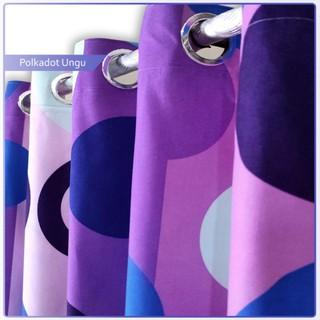 gorden katun mikrotek motif polkadot ungu / dekorasi rumah