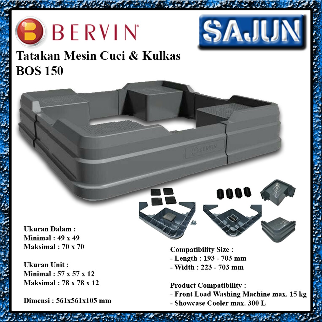 BERVIN BOS 150 TATAKAN MESIN CUCI FRONT LOADING/TOP LOADING/KULKAS