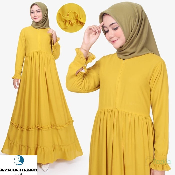 Terlaris Azkia Hijab Store | Dress Muslim Wanita | Afia Dress | Gamis Busui - Kuning Real Pict