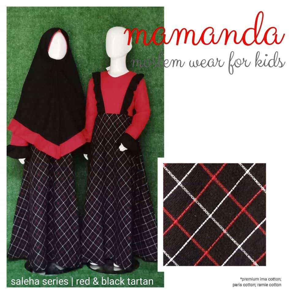 Gamis Anak Mamanda Red&Black Tartan (Saleha Series)