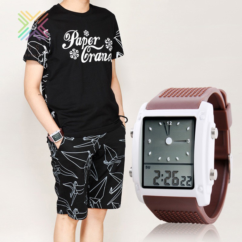 Novelty Waterproof Electronic Watch Sports Luminescent Wrist Watch With Pu Strap For Kid Students Shopee Indonesia