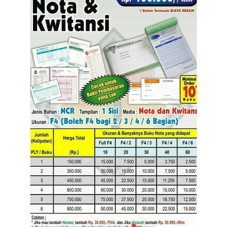 Cetak Nota kwitansi kostum ukuran setengah folio satuan 2 play design gratis | Shopee Indonesia