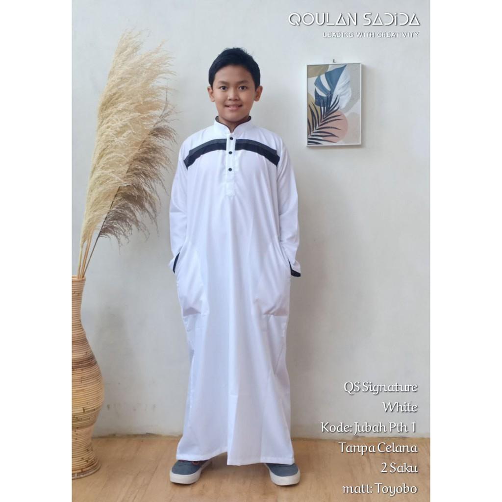 JUBAH ANAK SIGNATURE WHITE THOBE BY QOULAN SADIDA