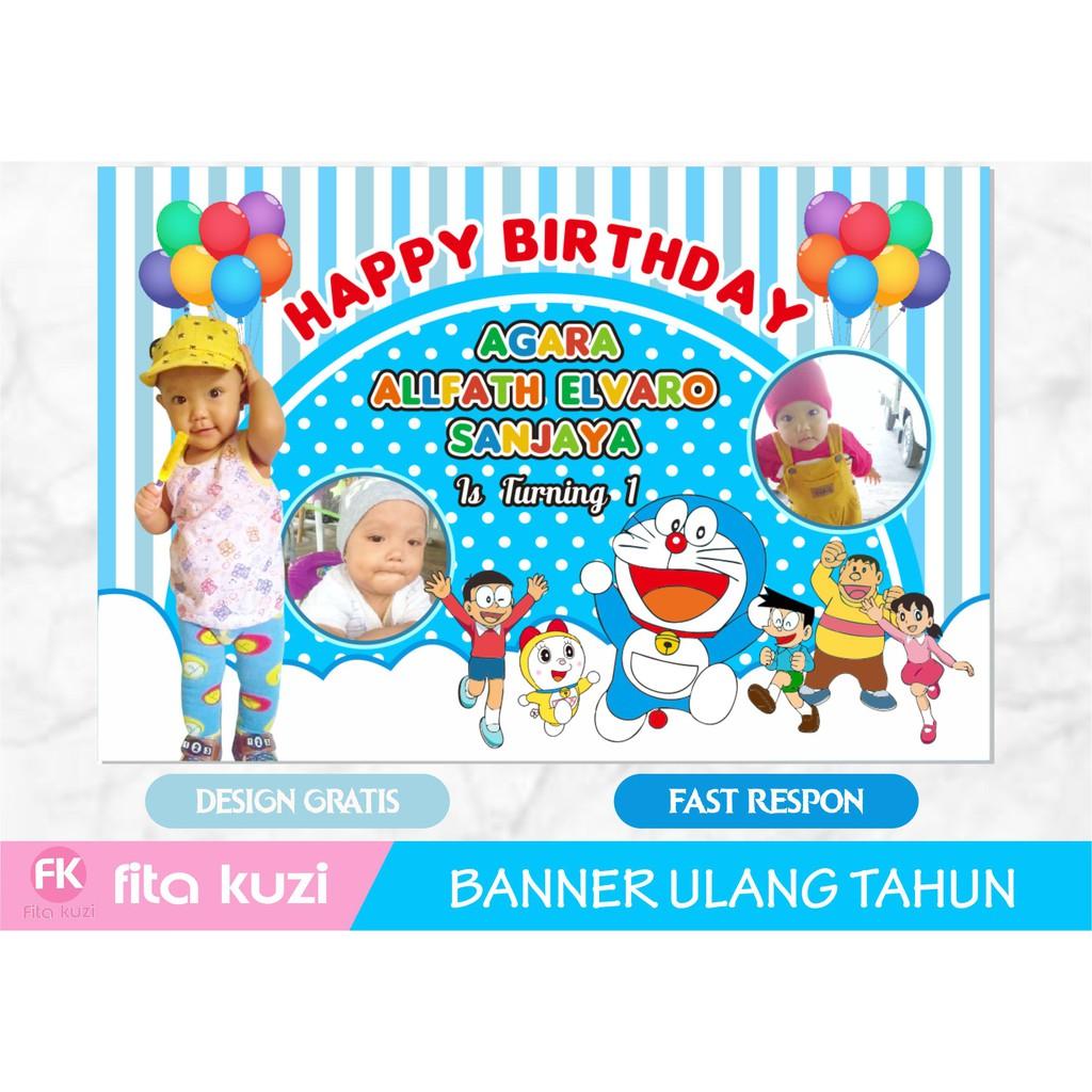 Backdrop Banner Spanduk Ulang Tahun Anak Doraemon