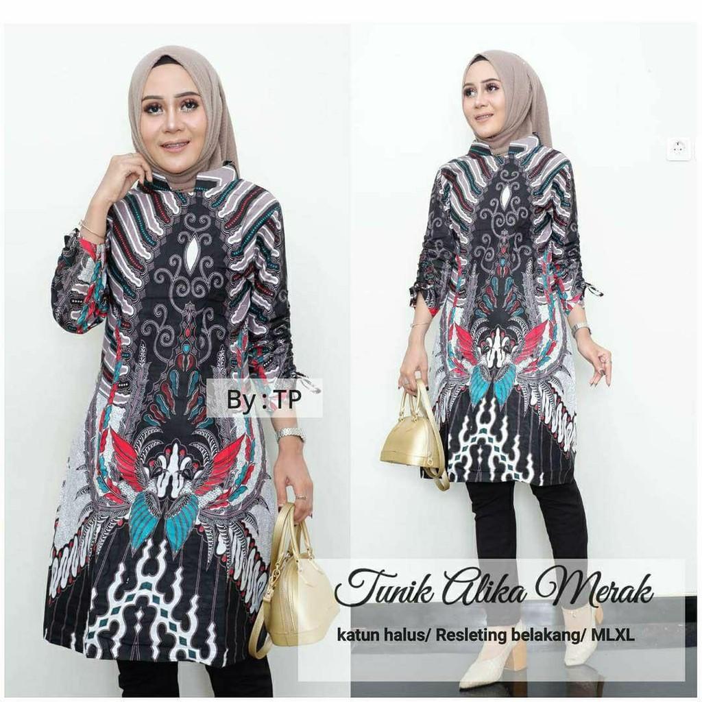 Tunik Hello Batik Solo Fashion Wanita Tunik Batik Modern Atasan