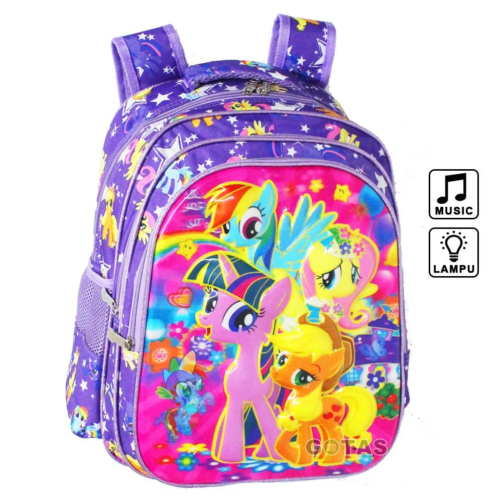 Tas Ransel Sekolah Anak SD Little Pony 7D Timbul 16 in Lampu Music 3 Kantong Ungu Full Motif | Shopee Indonesia