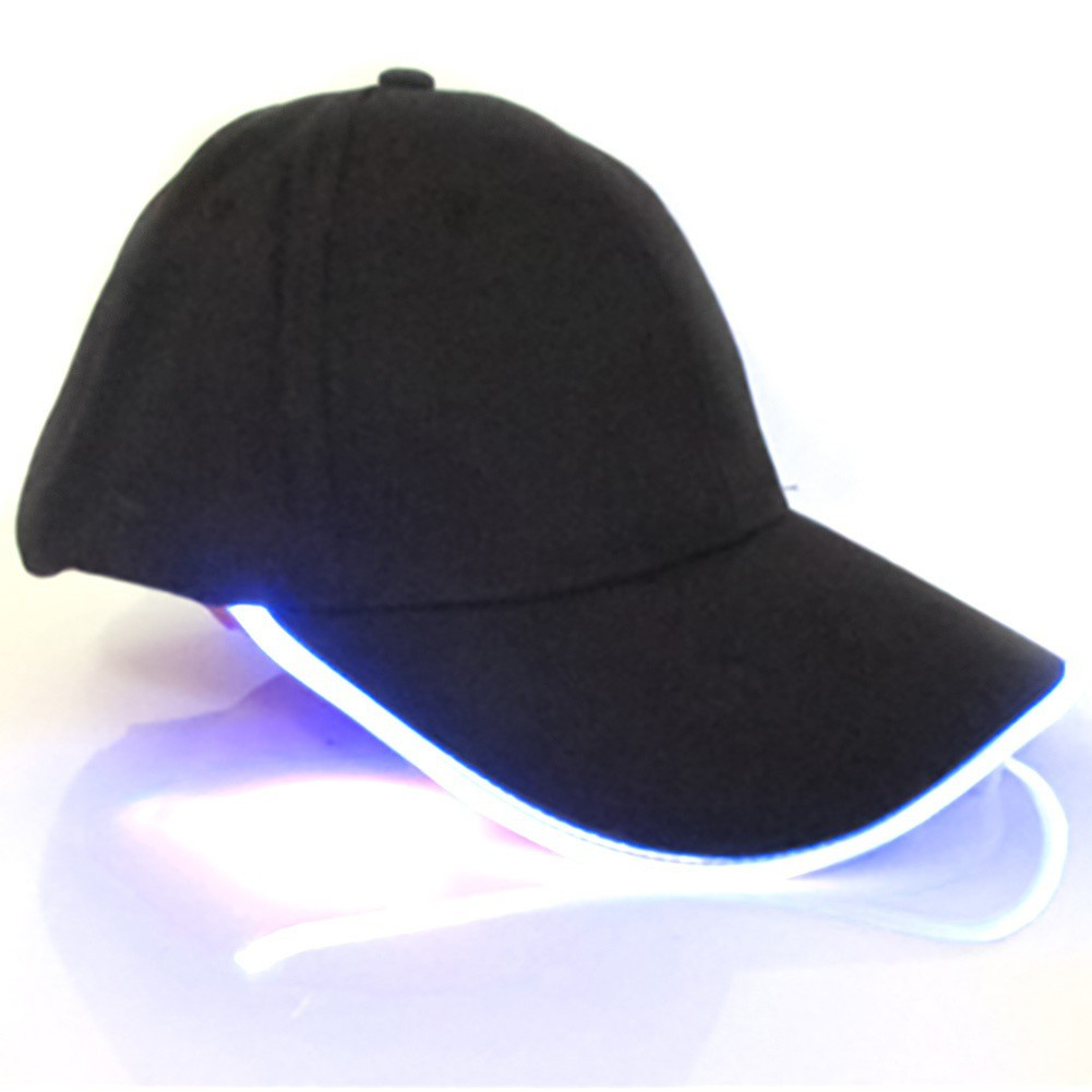 LED Lighted Up Hat Glow Club Party Baseball Hip-Hop Adjustable Sports Cap Black