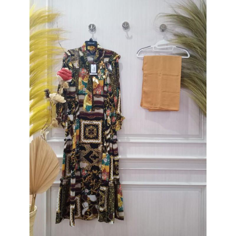 HIKMAT / Gamis  A 8882 Black by Hikmat / Hikmat fashion / Set Syar'i Elegant / Set syar'i Premium