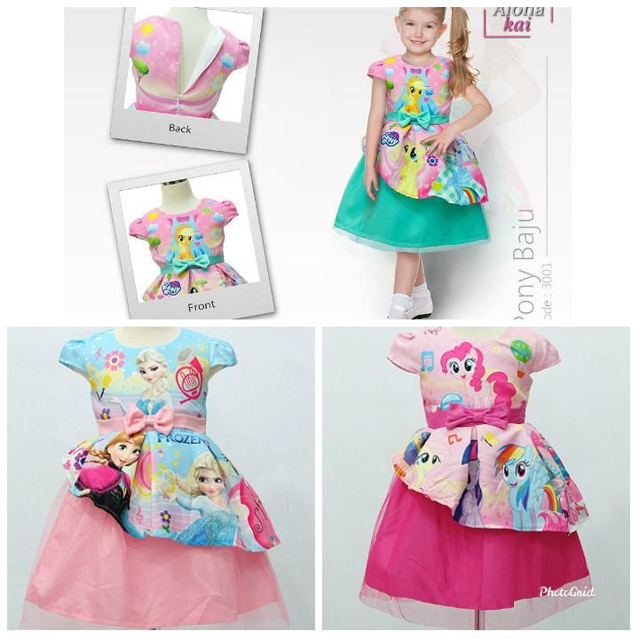 New Dress Pesta Anak Model Pita Rok Tutu Dress Anak Frozen Kuda Poni Usia 2 10 Tahun Shopee Indonesia