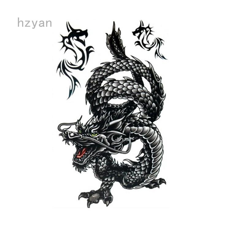 Hzyan Stiker Tato Sementara Keren Tahan Air Gambar Naga Hitam Keren 20 5x10cm Shopee Indonesia