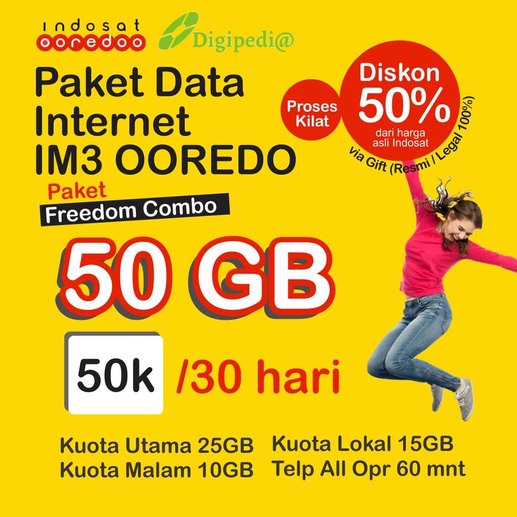 FREEDOM INTERNET // FREEDOM COMBO 30/50GB Diskon 50% 30 hari Paket Data Kuota Internet IM3 Indosat