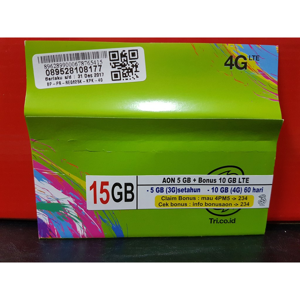 Perdana Tri Aon 24 Gb Kartu Kuota Internet Shopee Indonesia Data 1gb