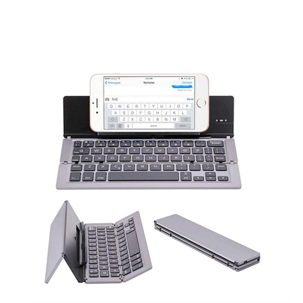 Keyboard Wireless Bluetooth Mini Lipat Ultra Tipis 58 Tombol Untuk