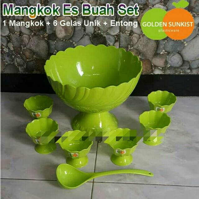 Mangkok Es Buah Set Golden Sunkist, Tempat Wadah Es Krim Set | Shopee Indonesia