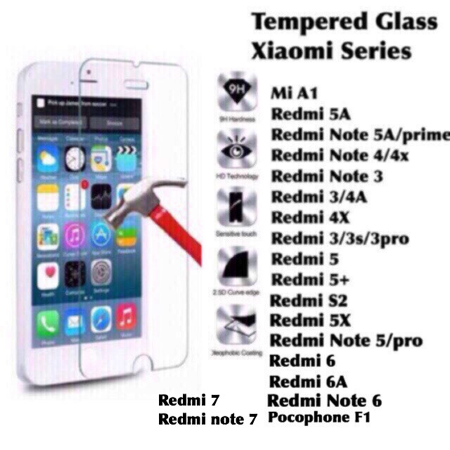 Tempered glass Xiaomi Redmi 3 4A 5A 5x 4X MI A1 6 6A 3x 3s 5 plus mi A1  note 2 7 5 prime pro f1 poco