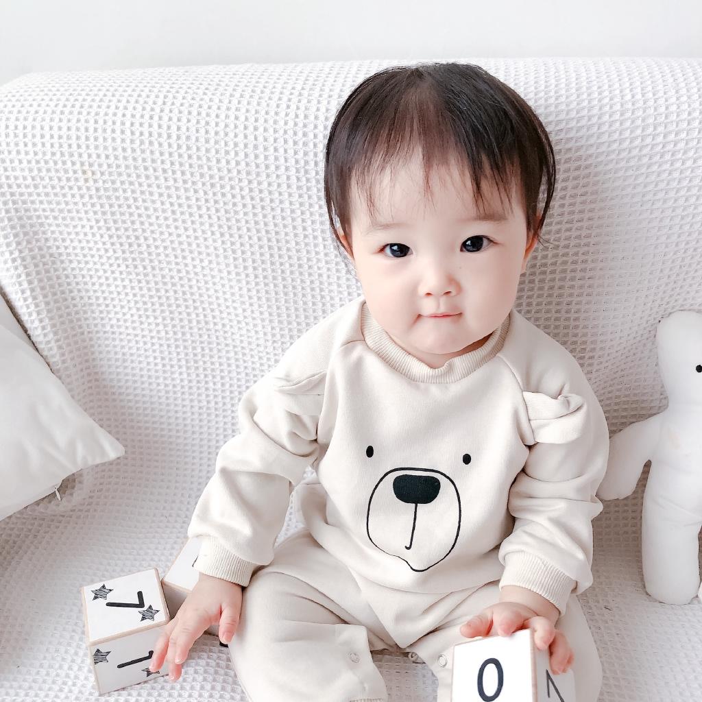 Pakaian Bayi Ins Musim Semi Bayi Korea Lucu Kartun One Piece Tas Sweater Bayi Beruang Kentut Hak