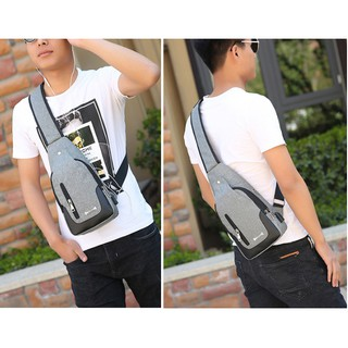 Tas Slempang / Selempang Anti Air Kanvas SPEN USB Sling Bag Canvas Vr2