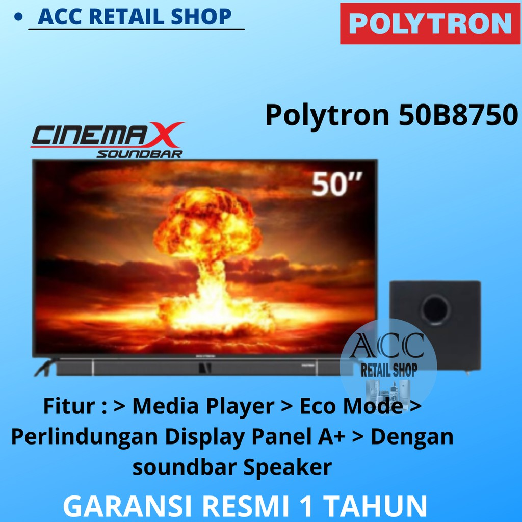 POLYTRON LED TV 50INCH - 50B8750 SOUNDBAR