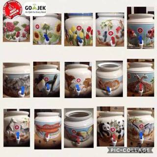Guci Keramik Galon Guci Embos 3d Kerok Trisensa Shopee Indonesia