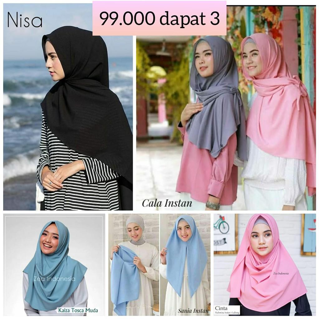 (33k min 3pc) Kaiza M /Pashmina Instan Sala / Hijab /OSHI/ Draper | Shopee Indonesia