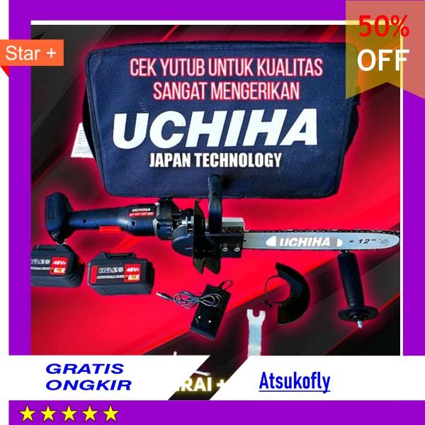 Promo Mesin Gerinda Tangan Baterai Angle Grinder Set Chainsaw Mini Gergaji Potong Kayu Uchiha Japan