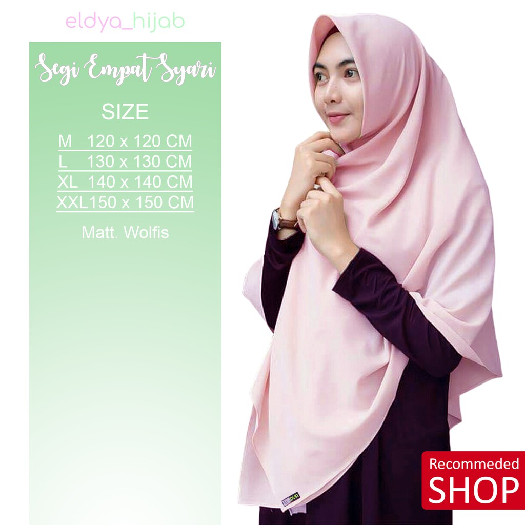 ✅✅ NO PO Segi Empat Wolfis Syar'i Jumbo Jilbab Wolpeace Grade A 130x130 Harga Promo Hijab | Shopee Indonesia