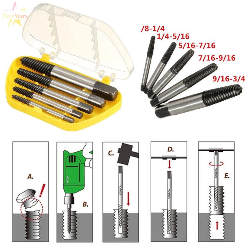Bolt extractor set easyout stud screw remover 5pc box engineer tool ezy out