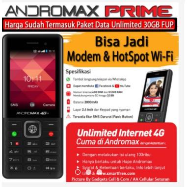 Smartfren Andromax Prime 4G LTE + Paket Unlimited 4G + Kartu Perdana (AKTIF)