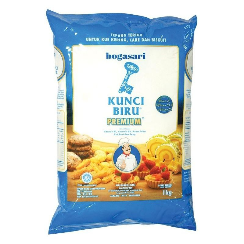 Tepung Terigu Premium 1kg Varian Cakra Kembar Segitiga Biru Kunci Biru