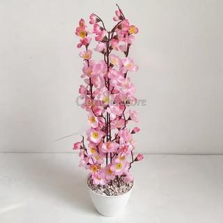 bunga sakura plastik t50cm + pot - bunga sakura meihua