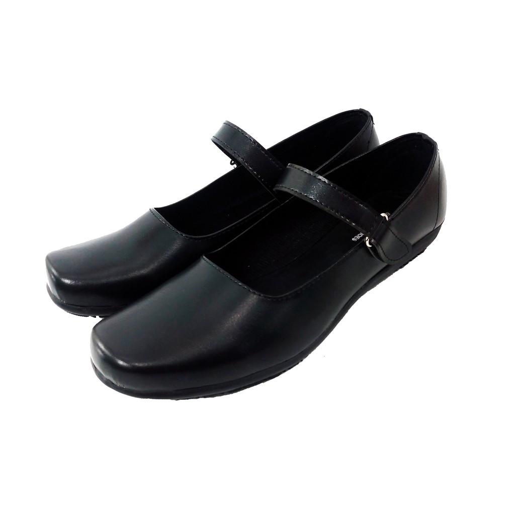 Aline Sepatu Pantofel Wanita Hitam Flat Cewek Sekolah Kantor