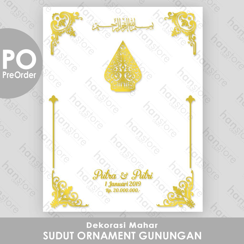 PO Dekorasi Mahar Sudut Ornament Akrilik Cermin Emas Perak