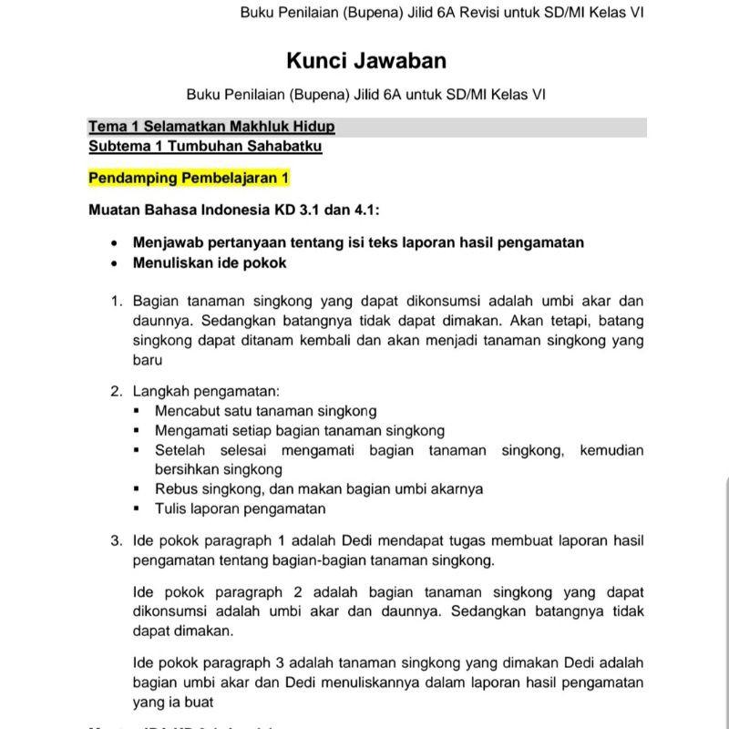 Kunci Jawaban Bupena Sd Kelas 1 6 Shopee Indonesia