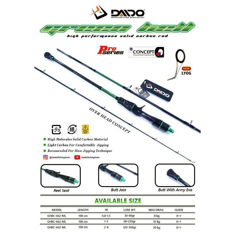 Joran Daido Green Hell Pro Series OVER HEAD CONCEPT 198cm PE 1-3(15Kg) Dan PE 2-4(20Kg)