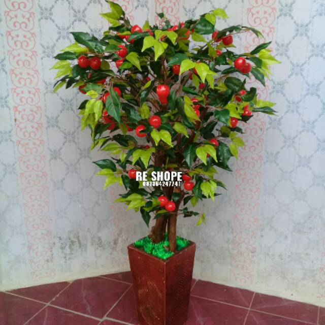 Bunga Plastik Bunga Hias Artificial Pohon Apel Rimbun Shopee Indonesia