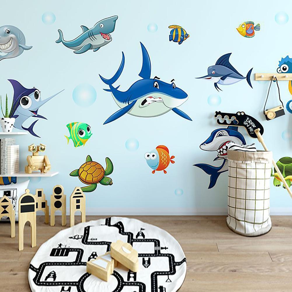 DIY Stiker Dinding Dengan Bahan PVC Tahan Air Gambar Kartun Bawah Laut 3D