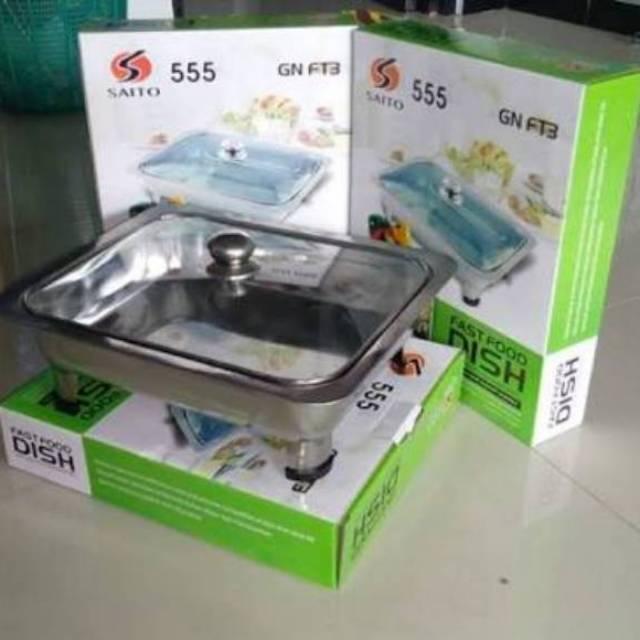 Tempat Makan Prasmanan Acara Fast Food Dish Kotak Stainless 555 SA Silver Good Quality Murah | Shopee Indonesia
