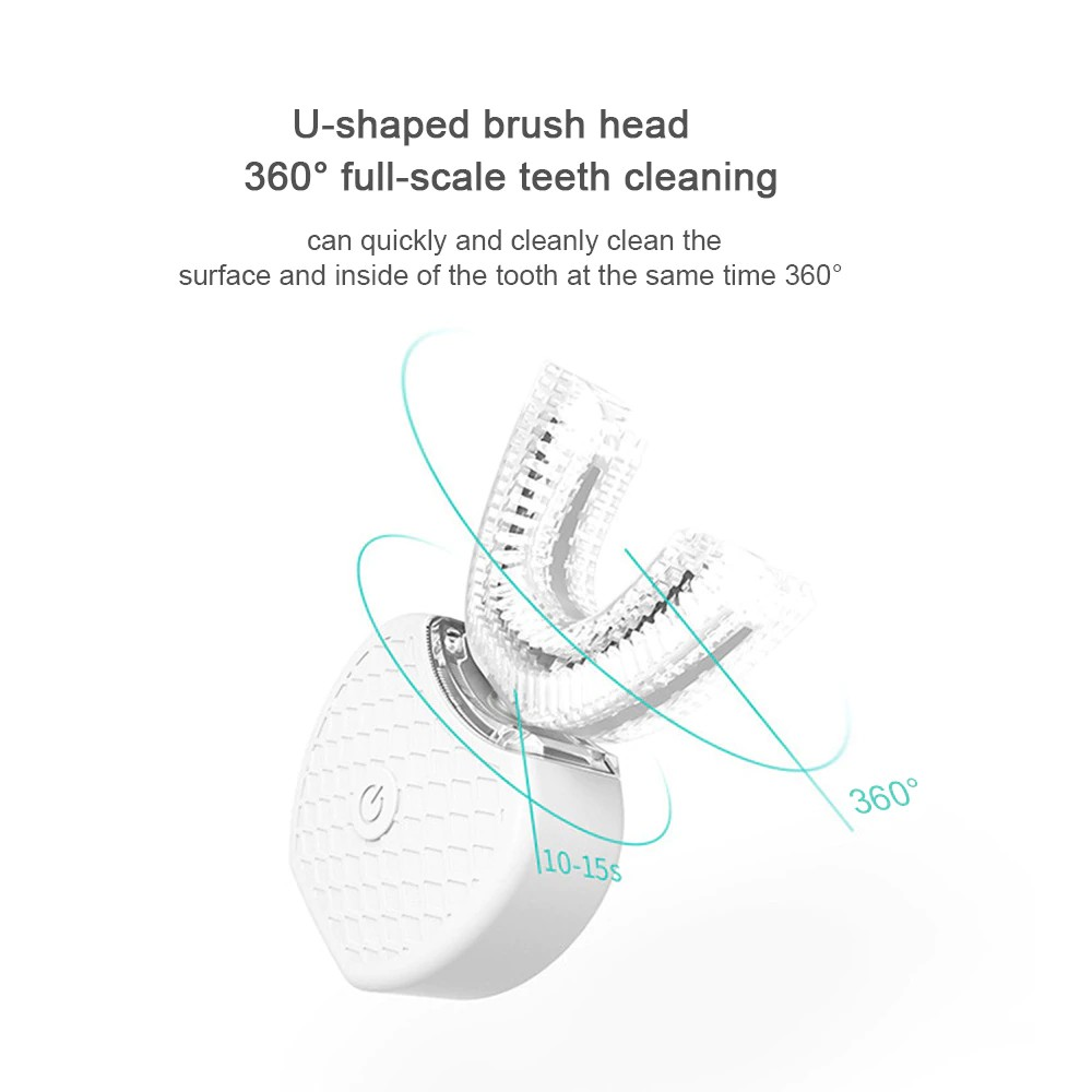 360 Degree Wave Brush Intelligent Automatic Sonic Lazy Electric Toothbrush USB