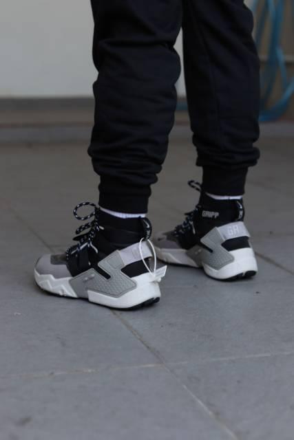Nike huarache gripp black wolf grey