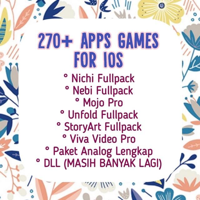 Nichi, Mojo, Viva Video, Paket Analog Lengkap, Unfold Fullpack, 270+  Aplikasi Games IOS