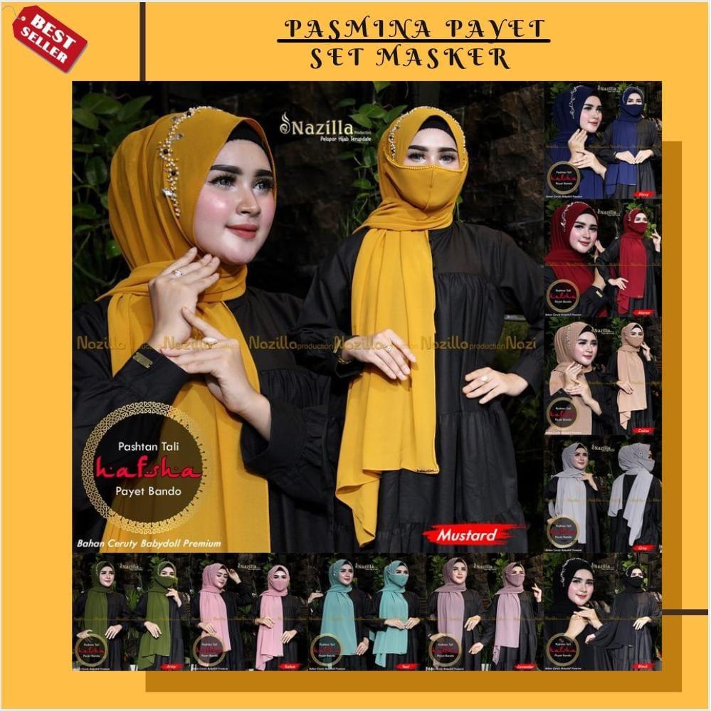 COD - Hijab HAFSHA Pasmina Free Masker Payet Bando Hijab Pasmina Model Terbaru Krudung Bahan Ceruty