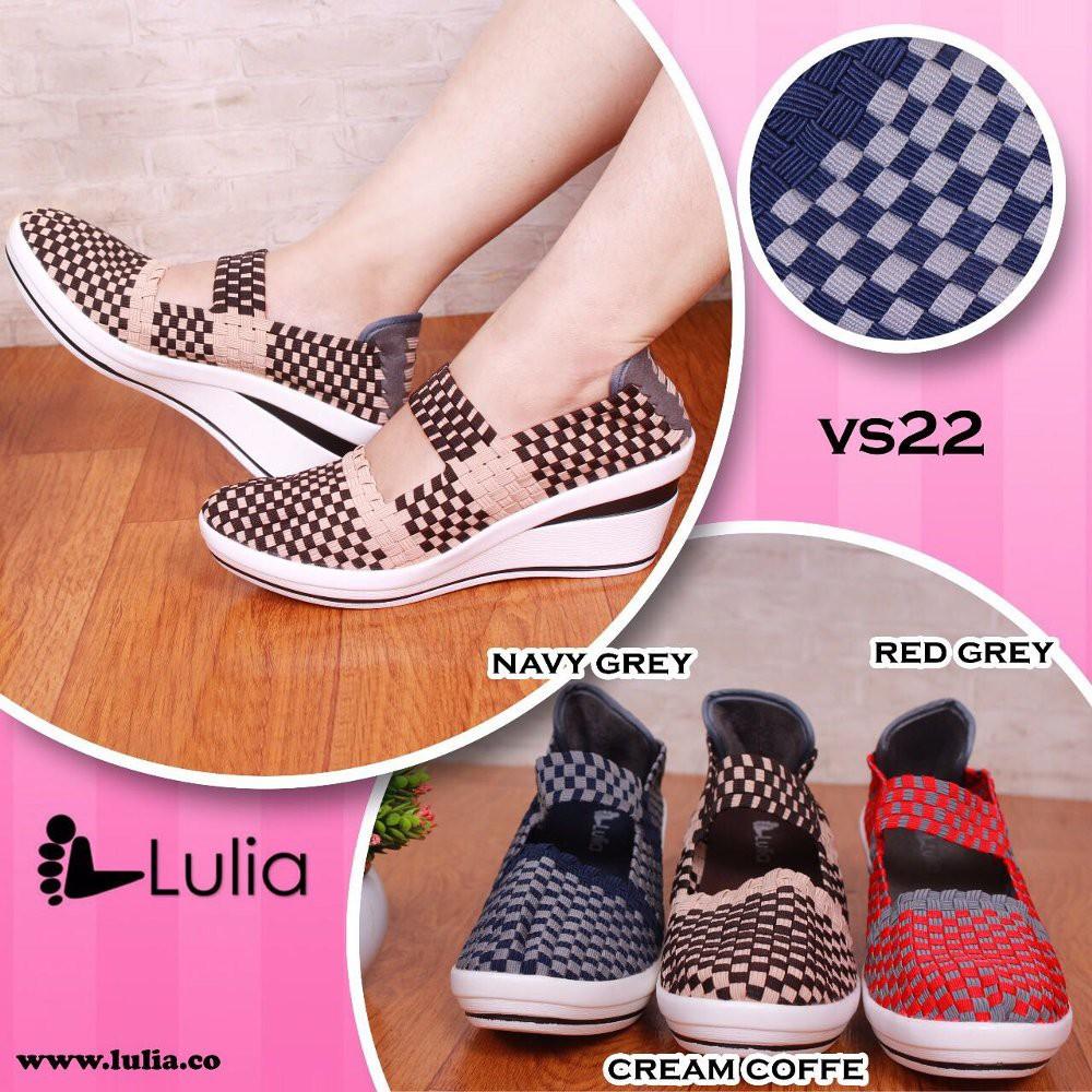 Diskon Sepatu Anyaman Lulia Wedges Vs 61 Shopee Indonesia Vs33 Rajut Wanita Blue