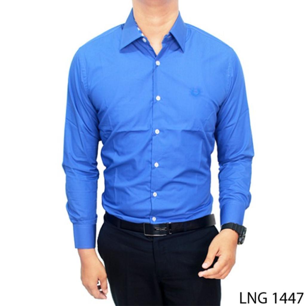 Kemeja Polos Hitam Lng 1445 Shopee Indonesia Pria Kombinasi Katun Putih Sht 791