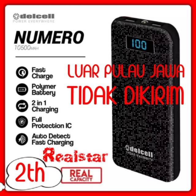 Powerbank Delcell Numero 10500mah Original Real Capacity Garansi Resmi 2 Tahun