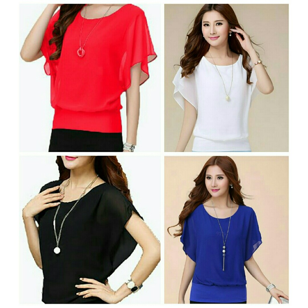 Azure Fashion Lina Top Putih Atasan Wanita Blouse Pakaian Baju Kantor Y Blus Zapron Shopee Indonesia
